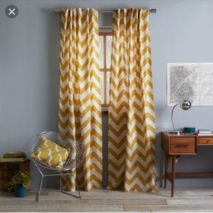 """West Elm Chevron Curtains (2) 64"""""""